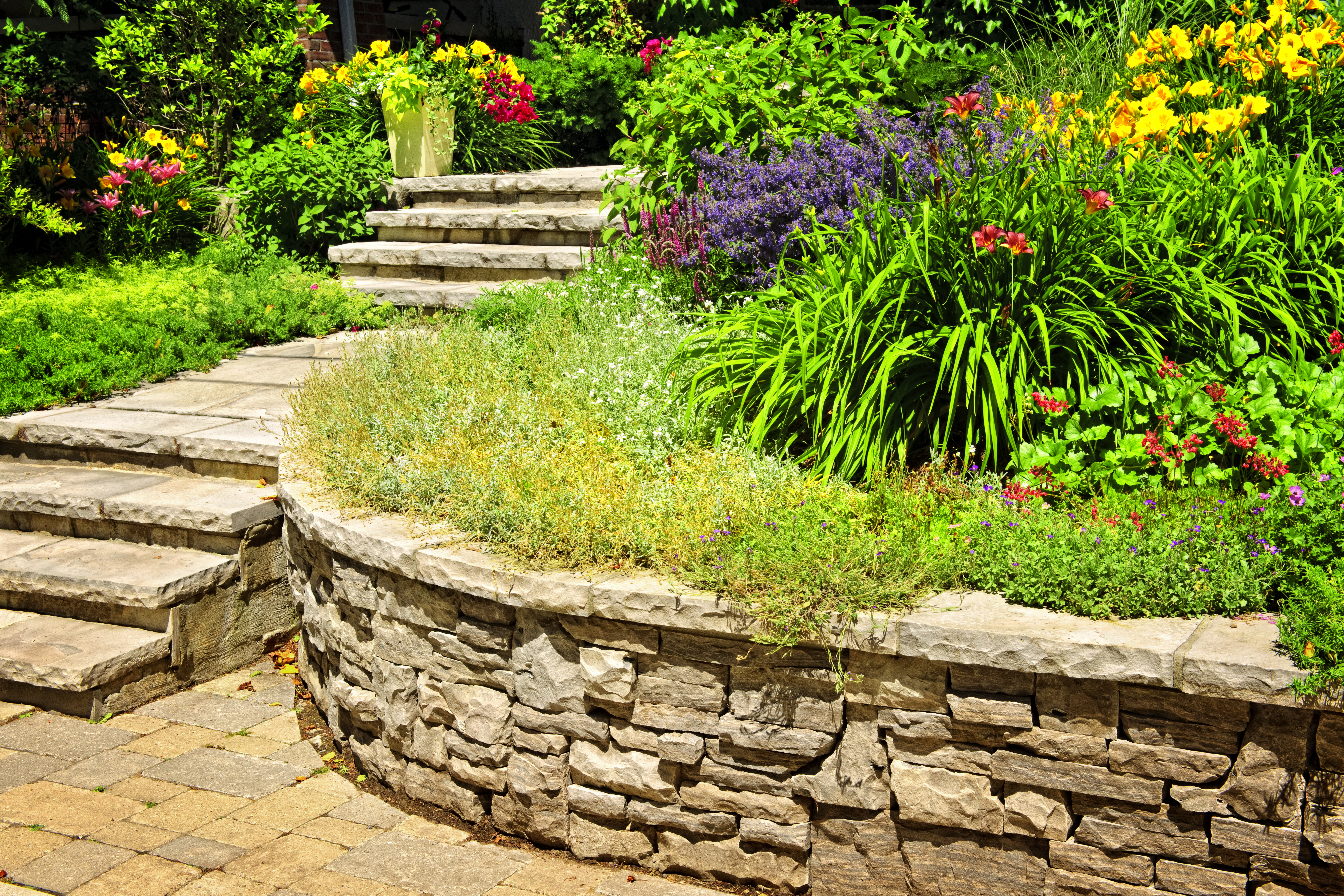 Natural,Stone,Landscaping,In,Home,Garden,With,Stairs,And,Retaining