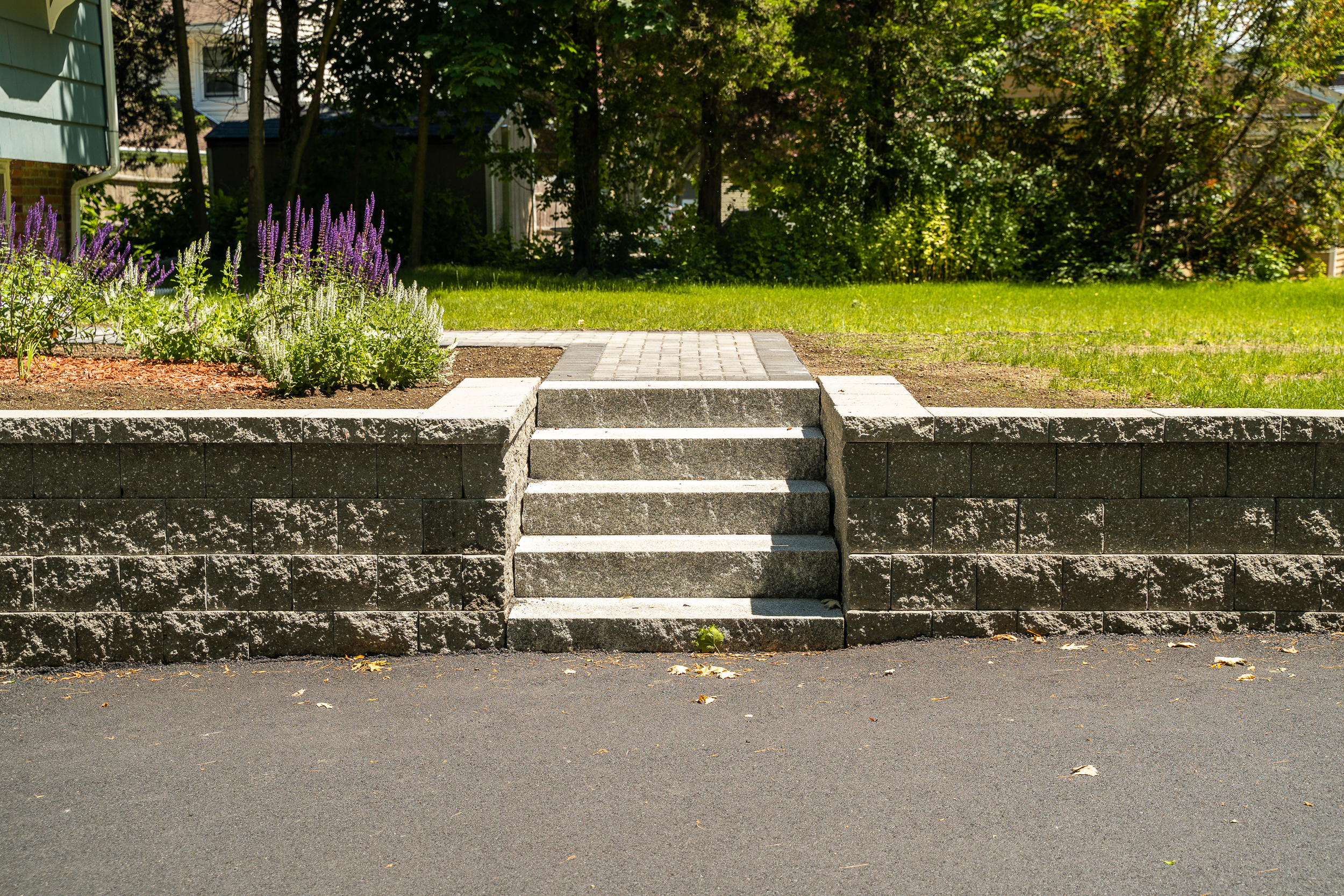 close up retaining wall and staircase
