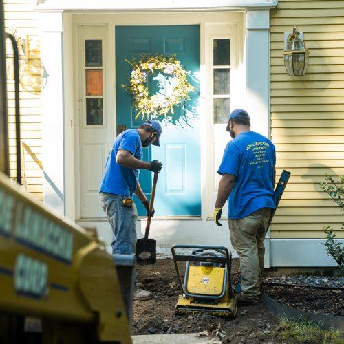 Workers at front door